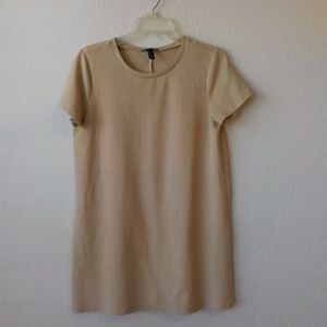 Forever 21 Mini Shift Dress XL Beige Suede Touch